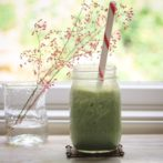 matcha smoothie in a mason jar