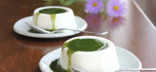 milk pudding with matcha sauce