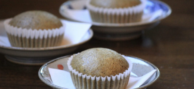 steamed hojicha muffins