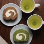 hojicha and matcha Swiss roll